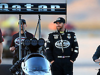 Mar 28, 2014; Las Vegas, NV, USA; NHRA top fuel dragster driver Shawn Langdon during qualifying for the Summitracing.com Nationals at The Strip at Las Vegas Motor Speedway. Mandatory Credit: Mark J. Rebilas-USA TODAY Sports