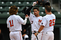 Shortstop Ryan Hagan (3) of the Mercer Bears, center, is congratulated by Alex Hanson (11) and JT Thomas (25) after hitting a home run in a game against the VMI Keydets as part of the Southern Conference Championship series on Wednesday, May 24, 2017, at Fluor Field at the West End in Greenville, South Carolina. Mercer won, 11-6. (Tom Priddy/Four Seam Images)