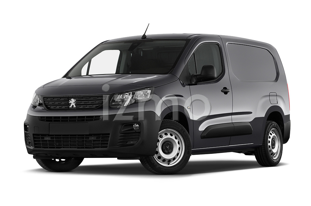 Stock pictures of low aggressive front three quarter view of 2019 Peugeot Partner Pemium 4 Door Car Van Low Aggressive