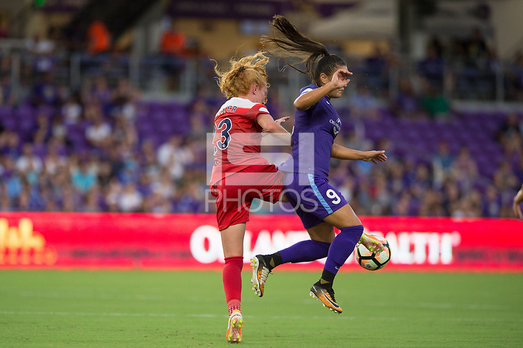 Orlando, FL - Tuesday August 08, 2017: Tori Huster, Camila Martins Pereira during a regular season National Women's Soccer League (NWSL) match between the Orlando Pride and the Chicago Red Stars at Orlando City Stadium.