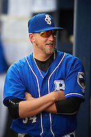 Biloxi Shuckers pitcher Tyler Wagner (34) in the dugout during a game against the Birmingham Barons on May 24, 2015 at Joe Davis Stadium in Huntsville, Alabama.  Birmingham defeated Biloxi 6-4 as the Shuckers are playing all games on the road, or neutral sites like their former home in Huntsville, until the teams new stadium is completed in early June.  (Mike Janes/Four Seam Images)
