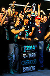 Nico Rosberg (D),  Mercedes F1 Team. Lewis Hamilton (GB), Mercedes F1 Team. Niki Lauda (AUT), 1975, 1977 and 1984 F1 World Champion, Mercedes-Benz non-executive chairman  of the board of directors.  2014 F1 Constructors Champions<br /> for the complete Middle East, Austria & Germany Media usage only!<br />  Foto © nph / Mathis