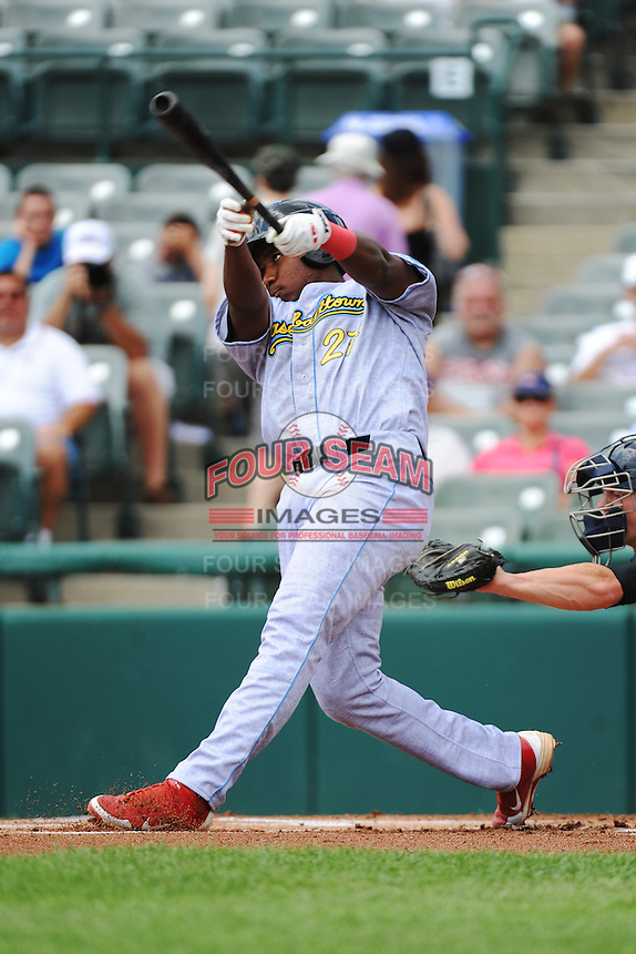 Reading Fightin Phils infielder Maikel Franco (27) during game against the Trenton Thunder at ARM & HAMMER Park on July 8, 2013 in Trenton, NJ.  Trenton defeated Reading 10-6.  (Tomasso DeRosa/Four Seam Images)