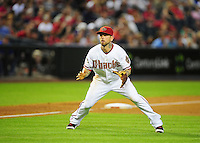 Jun. 2, 2011; Phoenix, AZ, USA; Arizona Diamondbacks third baseman Ryan Roberts against the Washington Nationals at Chase Field. Mandatory Credit: Mark J. Rebilas-