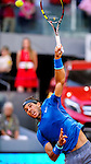 "Spanish tennis player Rafael Nadal during his men's singles final tennis match against Japanese tennis player Kei Nishikori at the Madrid Masters at the ""Caja Magica"" sports complex in Madrid on May 11, 2014.<br /> <br /> Photocall3000/Daniel Calleja"