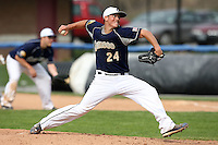April 15,2010:  Pitcher Kevin Hughes (24) of the Genesee Community College (GCC) Cougars Men's Baseball Team delivers a pitch vs. Alfred State at Dwyer Stadium in Batavia, NY.  Photo Copyright Mike Janes Photography 2010