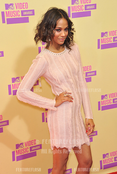 Zoe Saldana at the 2012 MTV Video Music Awards at Staples Center, Los Angeles..September 6, 2012  Los Angeles, CA.Picture: Paul Smith / Featureflash