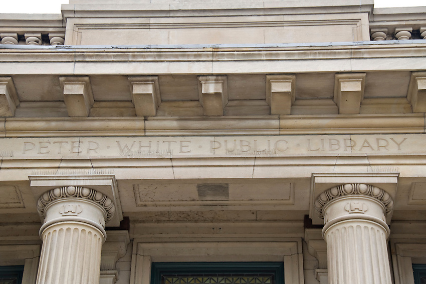 Architectural detail of Peter White Public Library in downtown Marquette Michigan.