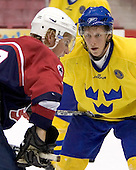 Justin Abdelkader (Michigan State University - Detroit Red Wings), Erik Andersson (HV 71)  The US Blue team lost to Sweden 3-2 in a shootout as part of the 2005 Summer Hockey Challenge at the National Junior (U-20) Evaluation Camp in the 1980 rink at Lake Placid, NY on Saturday, August 13, 2005.