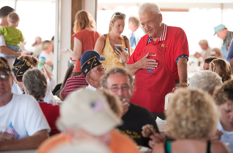 UNITED STATES - AUGUST 15:  Rep. Leonard Boswell, D-Iowa, talks with fairgoers at the Iowa Pork Producers Association pavilion at the Iowa State Fair in Des Moines, Iowa.  (Photo By Tom Williams/Roll Call)