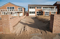 Sand blown from the beach and dunes in a garden St Anne's, Lancashire,