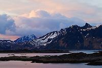 Evening light over mountains near Stamsund in late spring, Vestvagoy, Lofoten islands, norway