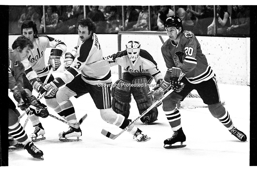 Seals vs BlackHawks, Seals Terry Murray and Ray McKay help goalie Giles Meloche, Hawks #20 Cliff Korall.   (1971 photo by Ron Riesterer)