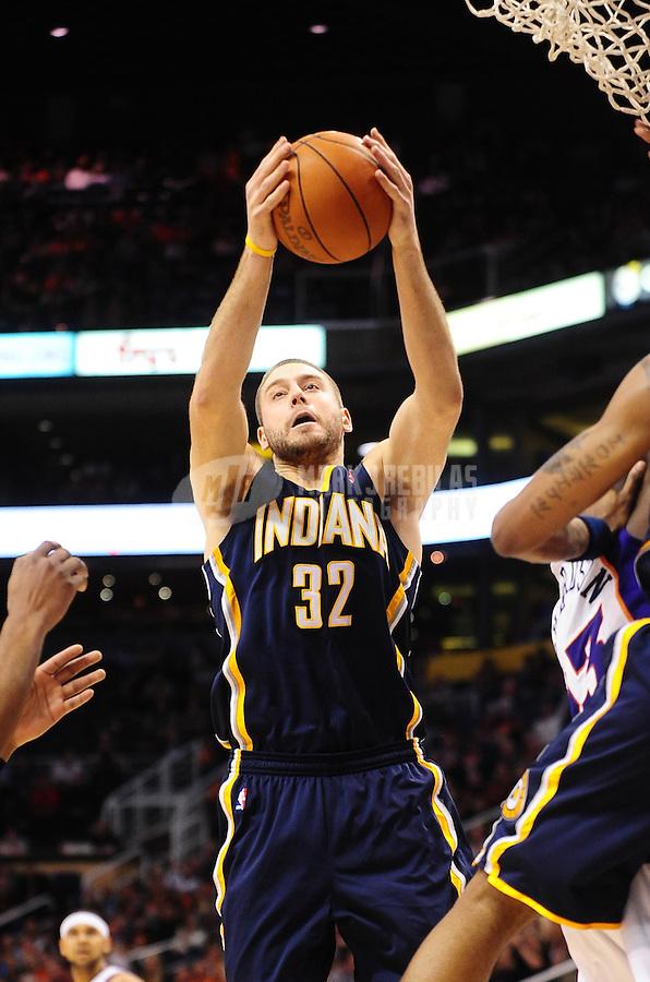 Dec. 3, 2010; Phoenix, AZ, USA; Indiana Pacers forward (32) Josh McRoberts against the Phoenix Suns at the US Airways Center. Mandatory Credit: Mark J. Rebilas-