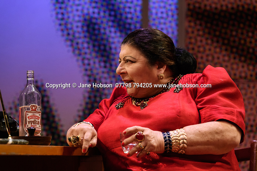 London, UK. 28.04.2017. Park Theatre presents MADAME RUBINSTEIN, by John Misto, directed by Jez Bond, starring Miriam Margolyes (Helena Rubinstein), Frances Barber (Elizabeth Arden), Jonathan Forbes (Patrick O'Higgins).  Photograph © Jane Hobson.