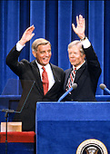 United States President Jimmy Carter, right, and US Vice President Walter Mondale, left, wave to the crowd after delivering their acceptance speeches at the 1980 Democratic National Convention in Madison Square Garden in New York, New York on August 13, 1980.<br /> Credit: Arnie Sachs / CNP