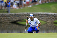 Hideki Matsuyama (JPN) on the 16th green during Sunday's Final Round of the WGC Bridgestone Invitational 2017 held at Firestone Country Club, Akron, USA. 6th August 2017.<br /> Picture: Eoin Clarke | Golffile<br /> <br /> <br /> All photos usage must carry mandatory copyright credit (&copy; Golffile | Eoin Clarke)