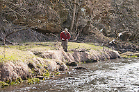 Fly fishing on the Green River in the Driftless Area of Southwest Wisconsin.