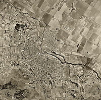 historical aerial photograph Petaluma California 1952