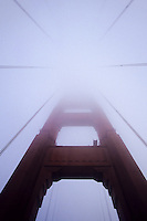 A frog perspective of the Golden Gate bridge in fog, San Francisco, California, USA