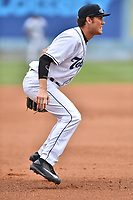 Asheville Tourists third baseman Bobby Wernes (12) during a game against the Rome Braves at McCormick Field on June 25, 2017 in Asheville, North Carolina. The Braves defeated the Tourists 7-2. (Tony Farlow/Four Seam Images)
