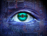 Conceptual digital illustration of a human with a compact disk for an eye and blue circuit board skin.