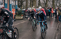 Alejandro Valverde (ESP/Movistar) on top of the Trieu<br /> <br /> 73rd Dwars Door Vlaanderen 2018 (1.UWT)<br /> Roeselare - Waregem (BEL): 180km