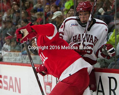 Noah Bauld (Cornell - 9), Jacob Olson (Harvard - 26) - The Harvard University Crimson defeated the visiting Cornell University Big Red on Saturday, November 5, 2016, at the Bright-Landry Hockey Center in Boston, Massachusetts.