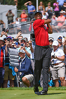 Tiger Woods (USA) watches his tee shot on 9 during Rd4 of the 2019 BMW Championship, Medinah Golf Club, Chicago, Illinois, USA. 8/18/2019.<br /> Picture Ken Murray / Golffile.ie<br /> <br /> All photo usage must carry mandatory copyright credit (© Golffile | Ken Murray)