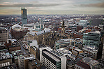 © Joel Goodman - 07973 332324 . 07/12/2013 . Beetham Tower , Manchester Town Hall , Gmex , Manchester Central , Midland Hotel . Cityscape view taken from the roof of City Tower , Piccadilly , Manchester . Photo credit : Joel Goodman