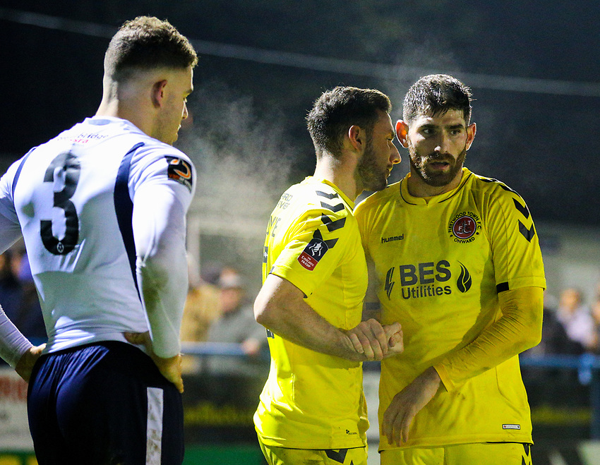 Fleetwood Town's Ched Evans celebrates with Lewis Coyle after the final whistle <br /> <br /> Photographer Alex Dodd/CameraSport<br /> <br /> The Emirates FA Cup Second Round - Guiseley v Fleetwood Town - Monday 3rd December 2018 - Nethermoor Park - Guiseley<br />  <br /> World Copyright © 2018 CameraSport. All rights reserved. 43 Linden Ave. Countesthorpe. Leicester. England. LE8 5PG - Tel: +44 (0) 116 277 4147 - admin@camerasport.com - www.camerasport.com