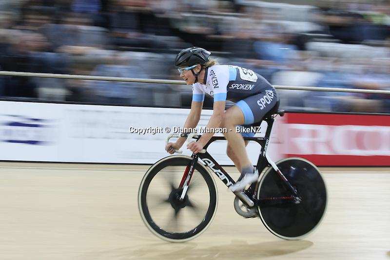 Jaime Nielsen in the points race at the Avanti BikeNZ Cup, Avantidrome, Cambridge, New Zealand, Saturday, September 20, 2014, Credit: Dianne Manson/BikeNZ