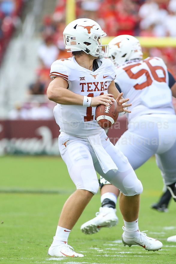 Landover, MD - September 1, 2018: Texas Longhorns quarterback Sam Ehlinger (11) throws a pass during the game between Texas and Maryland at  FedEx Field in Landover, MD.  (Photo by Elliott Brown/Media Images International)