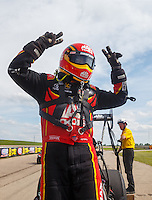 May 22, 2016; Topeka, KS, USA; NHRA top fuel driver Doug Kalitta celebrates after winning the Kansas Nationals at Heartland Park Topeka. Mandatory Credit: Mark J. Rebilas-USA TODAY Sports
