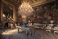 Antechamber of Anne of Austria, 1601-66, wife of King Louis XIII, Chateau de Fontainebleau, France. The Palace of Fontainebleau is one of the largest French royal palaces and was begun in the early 16th century for Francois I. It was listed as a UNESCO World Heritage Site in 1981. Picture by Manuel Cohen
