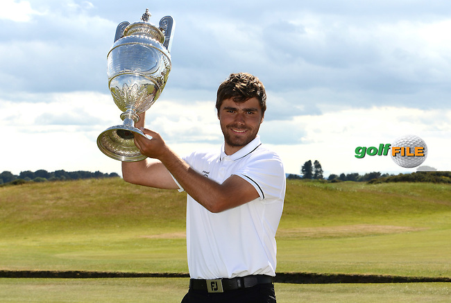 Romain Langasque of France poses with the trophy following his victory in the Final of the 120th Amateur Championship at Carnoustie Golf Links, Carnoustie, Scotland. Picture: Golffile | Richard Martin Roberts<br /> All photo usage must carry mandatory copyright credit (&copy; Golffile | Richard Martin Roberts)