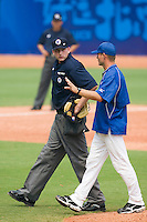 19 August 2007: Team manager Jeff Zeilstra argues with home plate umpire David Kulhanek during the Japan 4-3 victory over France in the Good Luck Beijing International baseball tournament (olympic test event) at the Wukesong Baseball Field in Beijing, China.