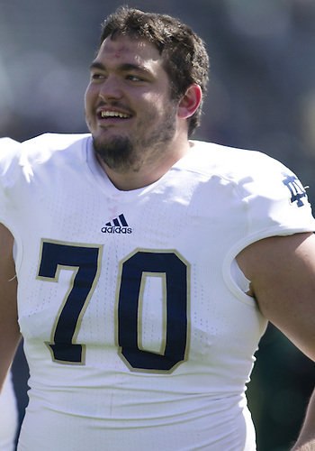 April 20, 2013: Notre Dame Fighting Irish offensive tackle Zack Martin (70) after the Notre Dame Blue-Gold Spring game at Notre Dame Stadium in South Bend, Indiana.  The Defense topped the Offense by a score of 54-43.
