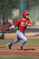 Cincinnati Reds first baseman Logan Uxa (80) during an instructional league game against the Cleveland Indians on September 28, 2013 at Goodyear Training Complex in Goodyear, Arizona.  (Mike Janes/Four Seam Images)