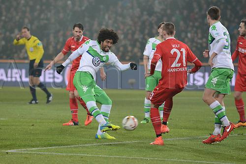 01.03.2016. Hannover, Germany. Bundesliga Football Hannover 96 versus VfL Wolfsburg.   Dante (VFL Wolfsburg 18) gets his shot away