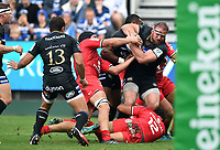Henry Thomas of Bath Rugby takes on the Toulouse defence. Heineken Champions Cup match, between Bath Rugby and Stade Toulousain on October 13, 2018 at the Recreation Ground in Bath, England. Photo by: Patrick Khachfe / Onside Images