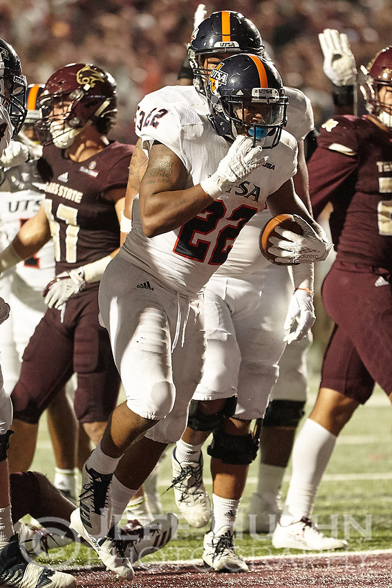 SAN MARCOS, TX - SEPTEMBER 23, 2017: The University of Texas at San Antonio Roadrunners defeat the Texas State University Bobcats 44-14 at Bobcat Stadium. (Photo by Jeff Huehn)