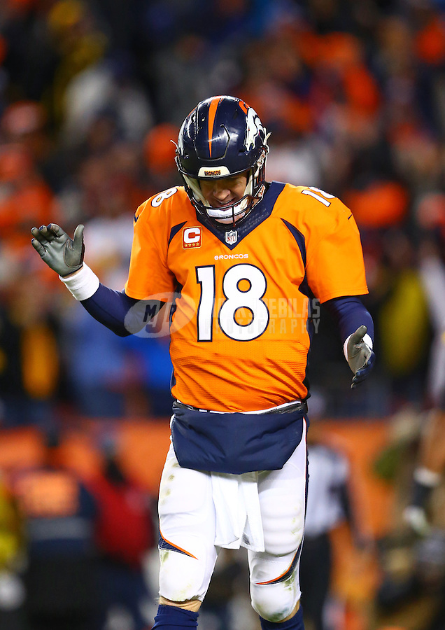 Jan 17, 2016; Denver, CO, USA; Denver Broncos quarterback Peyton Manning (18) reacts after throwing a successful two point conversion in the fourth quarter against the Pittsburgh Steelers during the AFC Divisional round playoff game at Sports Authority Field at Mile High. Mandatory Credit: Mark J. Rebilas-USA TODAY Sports