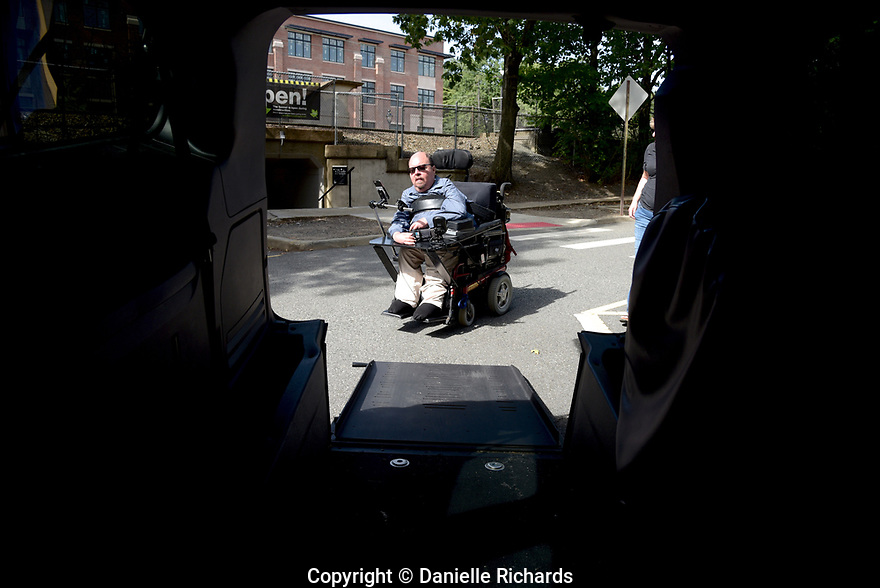 Daniel Florio, who is a quadriplegic as a result of spinal muscular atrophy, maneuvers his chair into his van. He worries about the future once his parents are no longer able to help with his care.  He requires 24-hour care, which is only partially covered by Medicaid.  His parents cover the other hours.