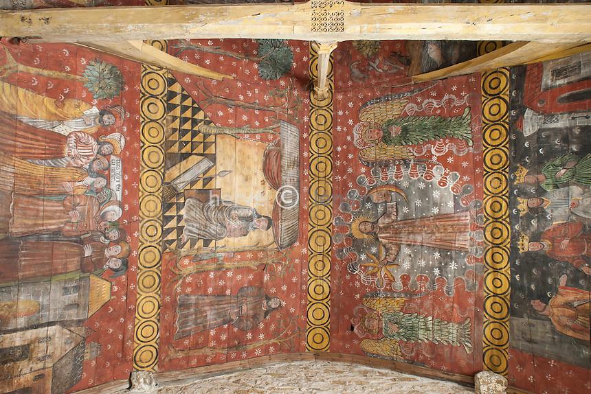 France, Côtes-d'Armor (22), Plougrescant, chapelle de Saint-Gonéry, les plafonds peint de la nef // France, Cotes-d'Armor, Plougrescant, chapel of Saint-Gonery, ceilings painted in the nave