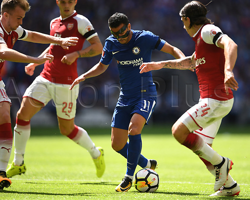 August 6th 2017, Wembley Stadium, London, England; FA Community Shield Final; Arsenal versus Chelsea; Pedro, with face mask,  of Chelsea tried to find his way through the Arsenal defence