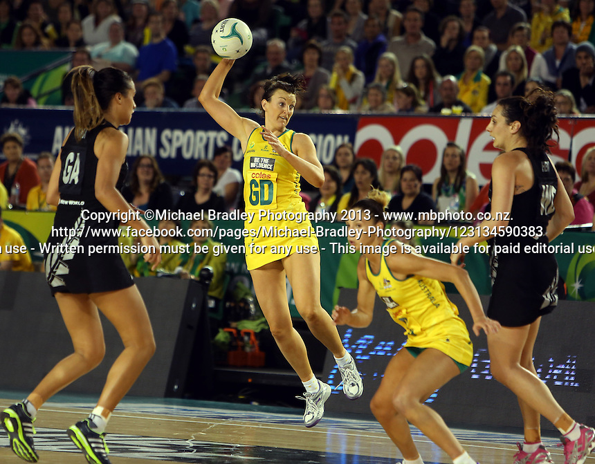 07.10.2013 Diamonds Bianca Chatfield in action during the Silver Ferns V Australian Diamonds Netball Series played at the Rod Laver Arena in Melbourne Australia. Mandatory Photo Credit ©Michael Bradley.