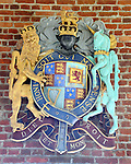 The British Royal Coat of Arms inside the Jamestown Memorial Church near the Jamestowne ruins, Jamestown was a settlement located on Jamestown Island in Virgnia Colony founded as James Fort on May 14 1607 and was the first English settlement in the United States, Jamestowne was founded by London Company and was the capital of the colony for 83 years 1616 to 1699, Jamestown is one of three locations comprising the Historic Triangle of Colonial Virgnia, along with Williamsburg and Yorktown,