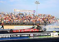 Jul. 18, 2014; Morrison, CO, USA; NHRA top fuel driver Spencer Massey during qualifying for the Mile High Nationals at Bandimere Speedway. Mandatory Credit: Mark J. Rebilas-