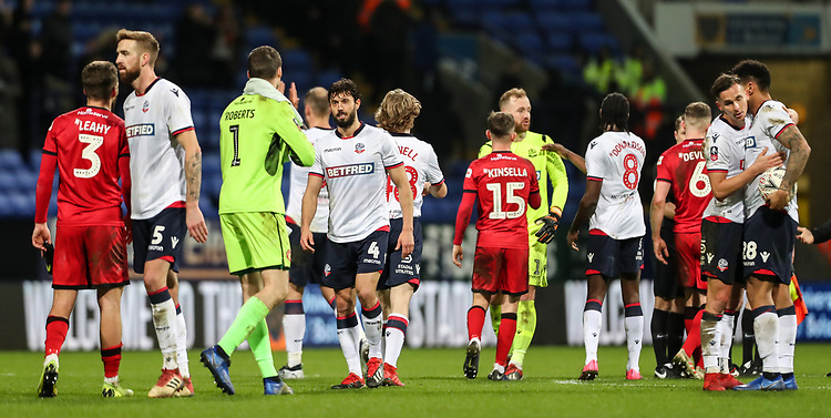 Players from both teams shake hands at the end of the match<br /> <br /> Photographer Andrew Kearns/CameraSport<br /> <br /> Emirates FA Cup Third Round - Bolton Wanderers v Walsall - Saturday 5th January 2019 - University of Bolton Stadium - Bolton<br />  <br /> World Copyright © 2019 CameraSport. All rights reserved. 43 Linden Ave. Countesthorpe. Leicester. England. LE8 5PG - Tel: +44 (0) 116 277 4147 - admin@camerasport.com - www.camerasport.com